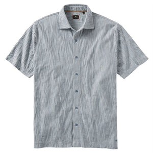 Seersucker Button-Front Knit Sport Shirt in Blue & Ivory by Left Coast Tee