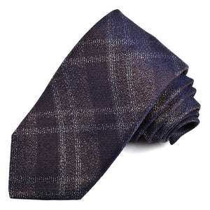 Brown, Navy, and Silver Lurex Plaid Silk Jacquard Tie by Dion Neckwear