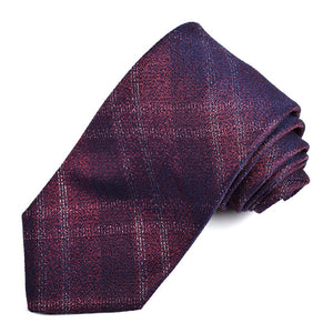 Berry, Navy, and Silver Lurex Plaid Silk Jacquard Tie by Dion Neckwear