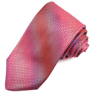 Red, Wine, Lilac, and Teal Micro Check Woven Silk Jacquard Tie by Dion Neckwear