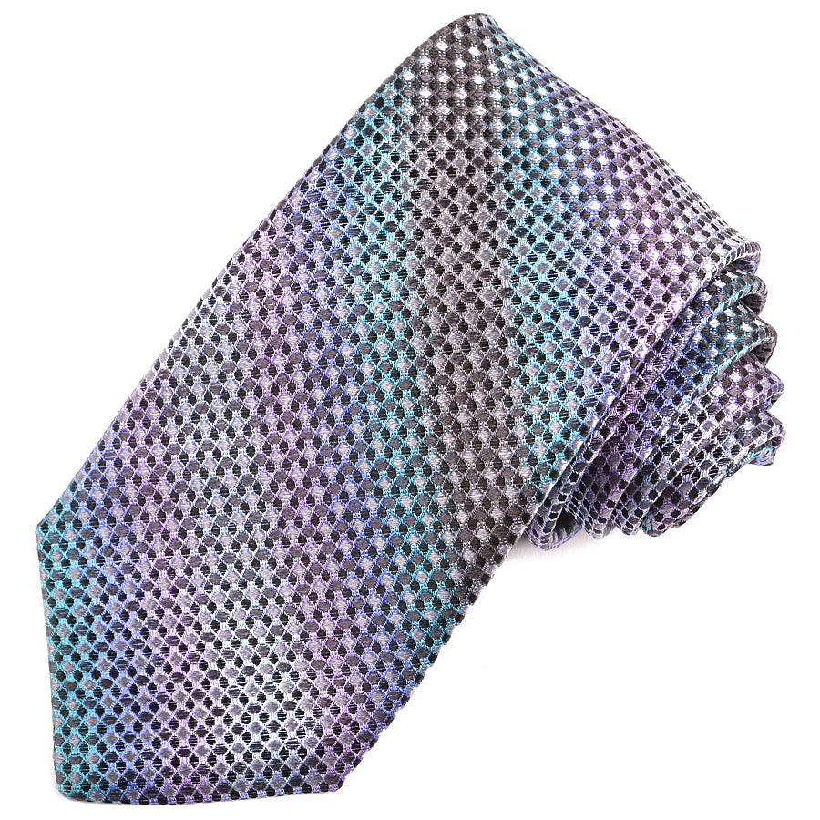 Grey, Silver, and Lilac Degrade Micro Dot Neat Woven Silk Jacquard Tie by Dion Neckwear