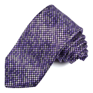 Purple, Lilac, and Black Houndstooth Woven Silk Jacquard Tie by Dion Neckwear