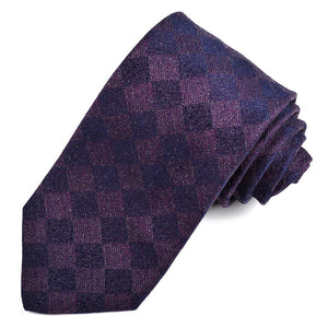 Purple and Navy Tonal Block Silk and Cotton Jacquard Tie by Dion Neckwear
