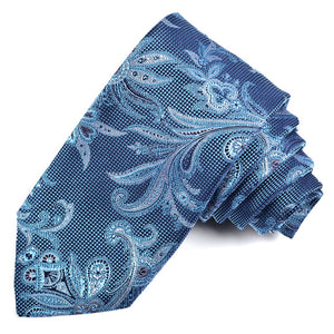 Tiffany Blue, Navy, and Silver Floral Paisley Silk Jacquard Tie by Dion Neckwear