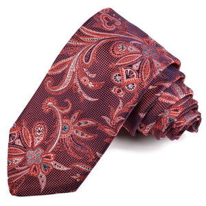 Wine, Navy, and Silver Floral Paisley Silk Jacquard Tie by Dion Neckwear