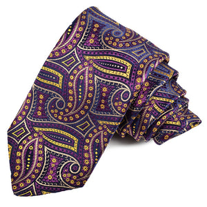 Navy, Eggplant, and Gold Floral Paisley Silk Jacquard Tie by Dion Neckwear