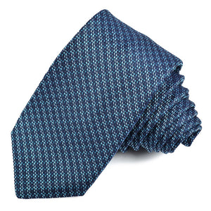 Marine, Teal, and Aqua Pin Dot Stripe Silk Jacquard Tie by Dion Neckwear