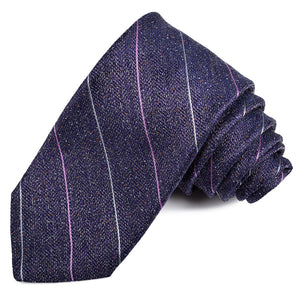 Purple, Grey, and Lavender Donegal Thin Stripe Silk Tie by Dion Neckwear