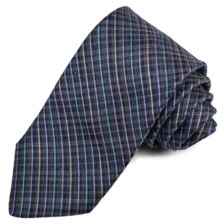 Navy, French Blue, and Teal Thin Plaid Woven Silk Jacquard Tie by Dion Neckwear
