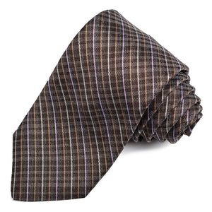 Brown, Tan, and Lilac Thin Plaid Woven Silk Jacquard Tie by Dion Neckwear