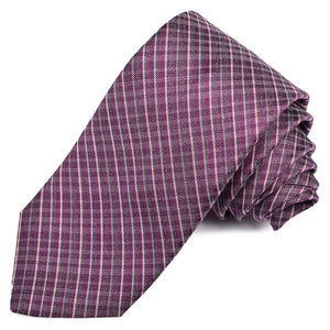 Berry, Pink, and Charcoal Thin Plaid Woven Silk Jacquard Tie by Dion Neckwear