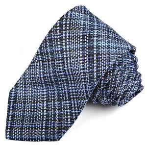 Navy,Powder Blue, and Teal Textured Plaid Woven Silk Jacquard Tie by Dion Neckwear
