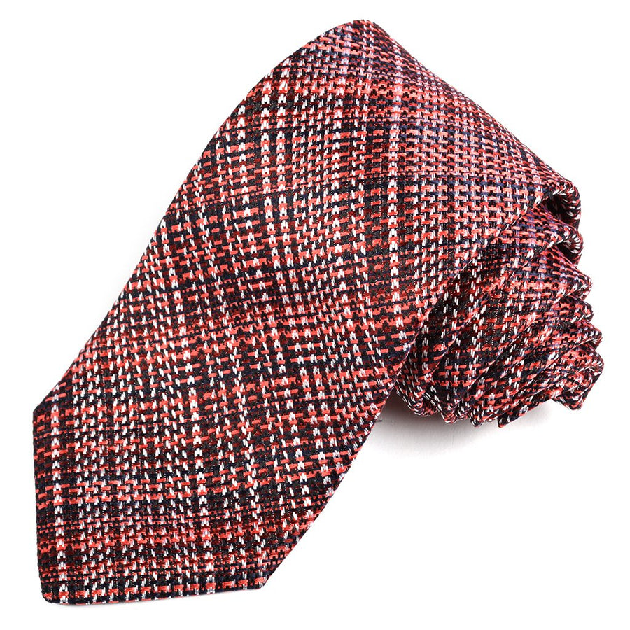 Navy, Burgundy, and Red Textured Plaid Woven Silk Jacquard Tie by Dion Neckwear