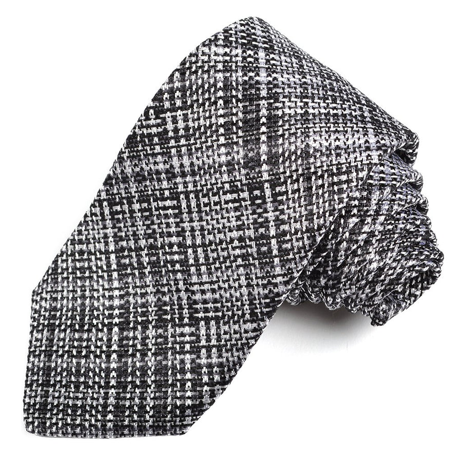 Black, Charcoal, and Latte Textured Plaid Woven Silk Jacquard Tie by Dion Neckwear