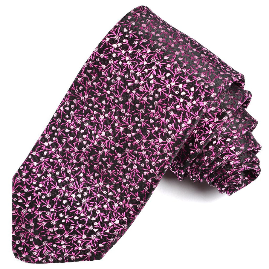 Black, Berry, and Pink Pine Needle Floral Silk Woven Jacquard Tie by Dion Neckwear