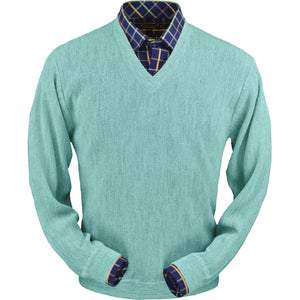 Baby Alpaca 'Links Stitch' V-Neck Sweater in Aqua Heather by Peru Unlimited