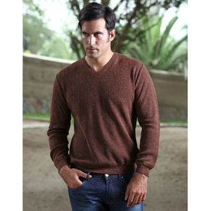 Baby Alpaca 'Links Stitch' V-Neck Sweater in Brown Heather by Peru Unlimited