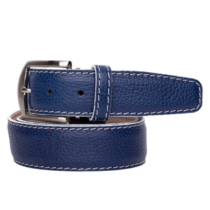 French Pebble Grain Calf Belt in New Blue with White Stitching by L.E.N. Bespoke