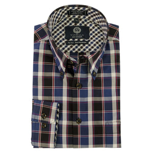 Blue, Navy, and Red Plaid Cotton Wrinkle-Free Button-Down Shirt by Viyella