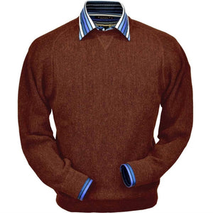 Baby Alpaca 'Links Stitch' Sweatshirt-Style Crew Neck Sweater in Rust Heather by Peru Unlimited