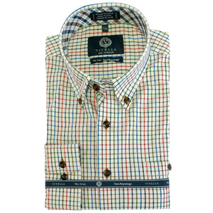 Olive, Blue, and Rust Check Cotton Wrinkle-Free Button-Down Shirt by Viyella