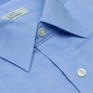 The Belmont - Wrinkle-Free Glen Plaid Cotton Dress Shirt in Blue by Cooper & Stewart