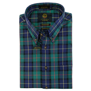 Pine and Blue Plaid Cotton and Wool Blend Button-Down Shirt by Viyella