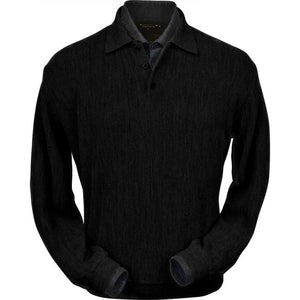 Baby Alpaca 'Links Stitch' Polo Style Sweater in Black by Peru Unlimited