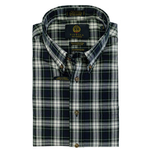 Forest and Navy Plaid Cotton and Wool Blend Button-Down Shirt by Viyella