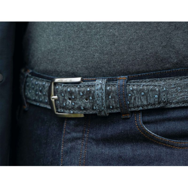 Genuine Ostrich Belt in London Fog by L.E.N. Bespoke