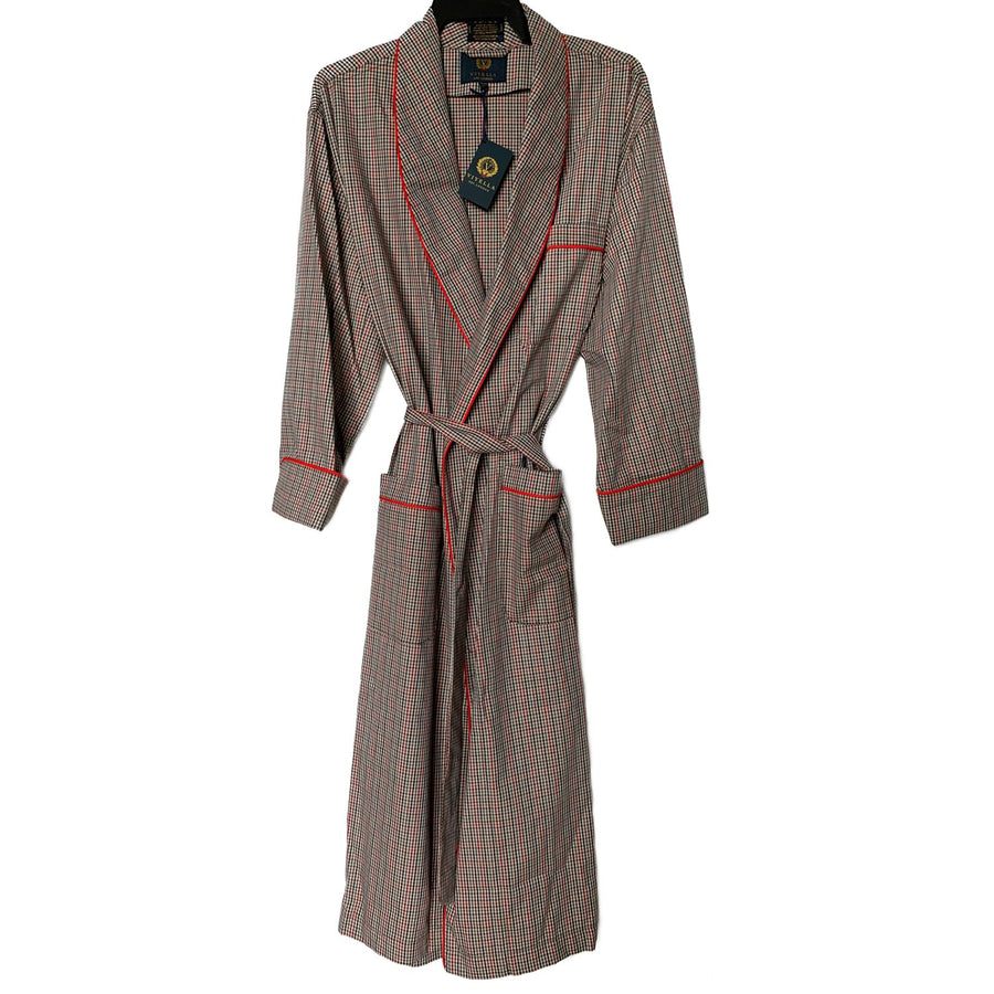 Gentleman's Cotton and Wool Blend Robe in Beige Check by Viyella