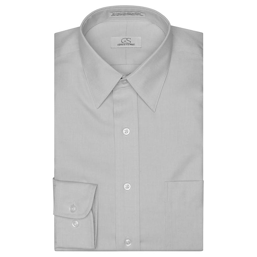 The Classic Grey - Wrinkle-Free Pinpoint Cotton Dress Shirt by Cooper & Stewart