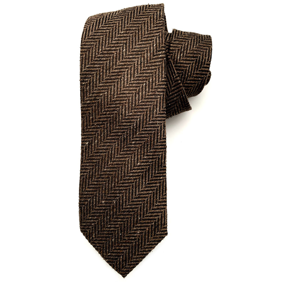 Brown and Black Herringbone Woven Textured Silk Tie by Bruno Marchesi