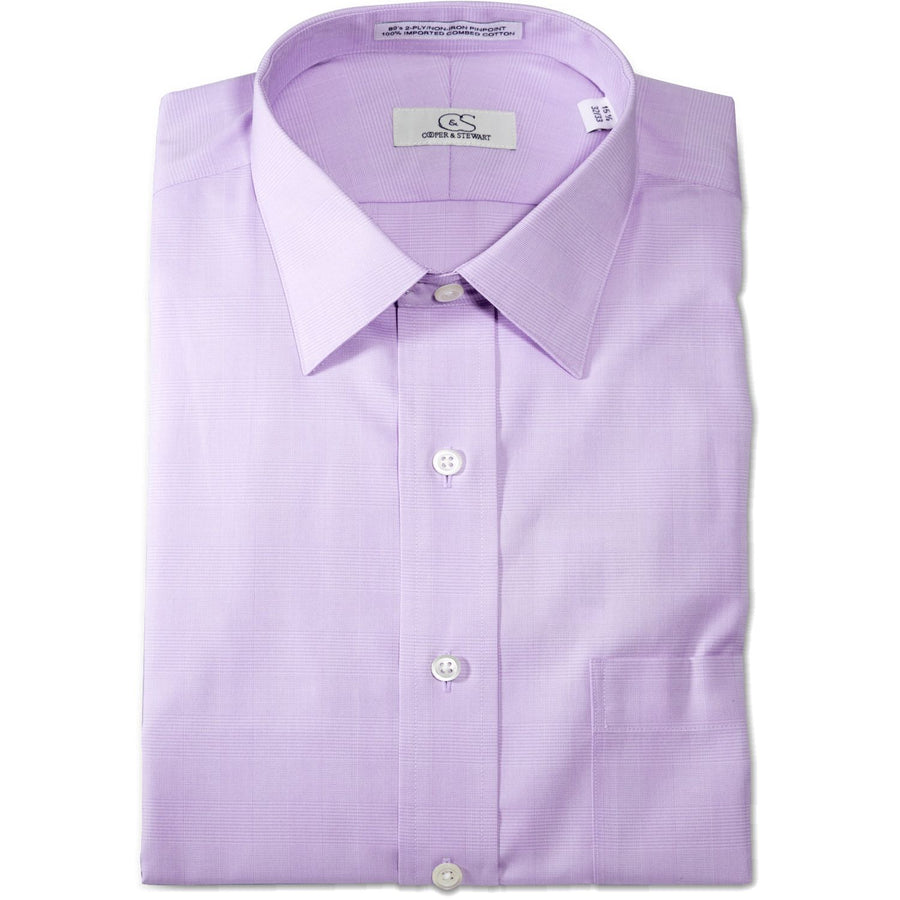 The Belmont - Wrinkle-Free Glen Plaid Cotton Dress Shirt in Lavender by Cooper & Stewart