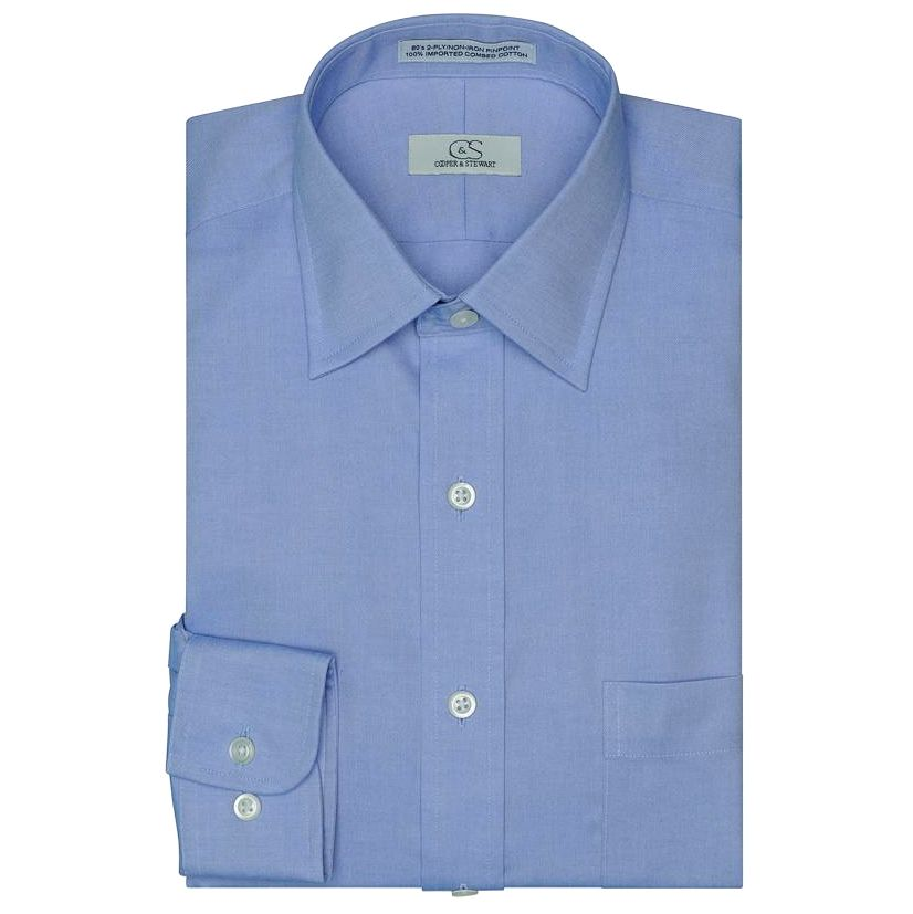 The Classic Blue - Wrinkle-Free Pinpoint Cotton Dress Shirt by Cooper & Stewart