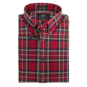 Royal Stewart Tartan Cotton and Wool Blend Button-Down Shirt by Viyella