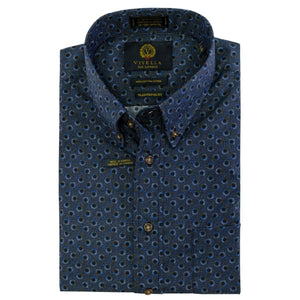 Navy and Blue Geometric Dot Cotton Button-Down Shirt by Viyella