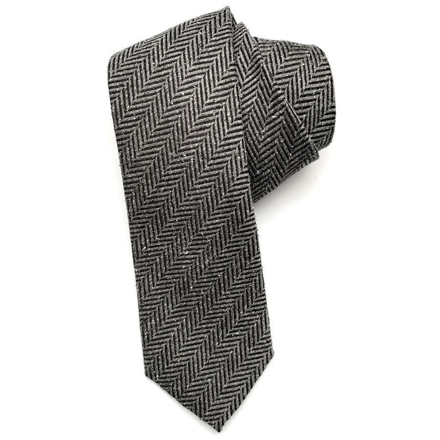 Grey and Black Herringbone Woven Textured Silk Tie by Bruno Marchesi