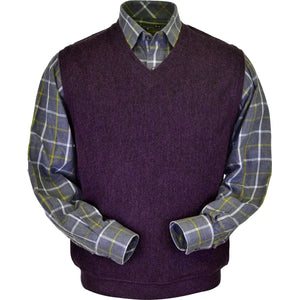 Baby Alpaca 'Links Stitch' V-Neck Sweater Vest in Eggplant Heather by Peru Unlimited