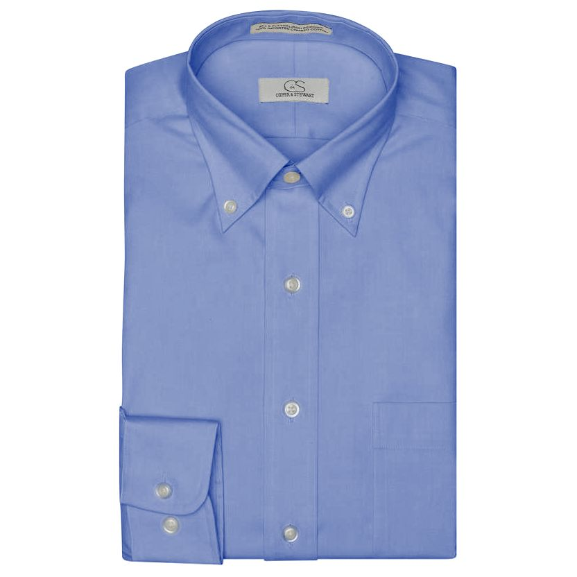 The Standard Blue - Wrinkle-Free Pinpoint Cotton Dress Shirt with Button-Down Collar by Cooper & Stewart