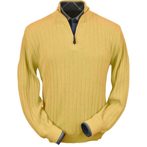 Baby Alpaca 'Links Stitch' Half-Zip Mock Neck Sweater in Gold by Peru Unlimited