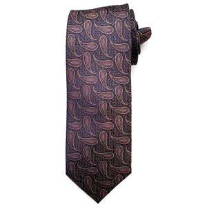 Navy and Rose Gold Geometric Paisley Woven Silk Tie by Bruno Marchesi
