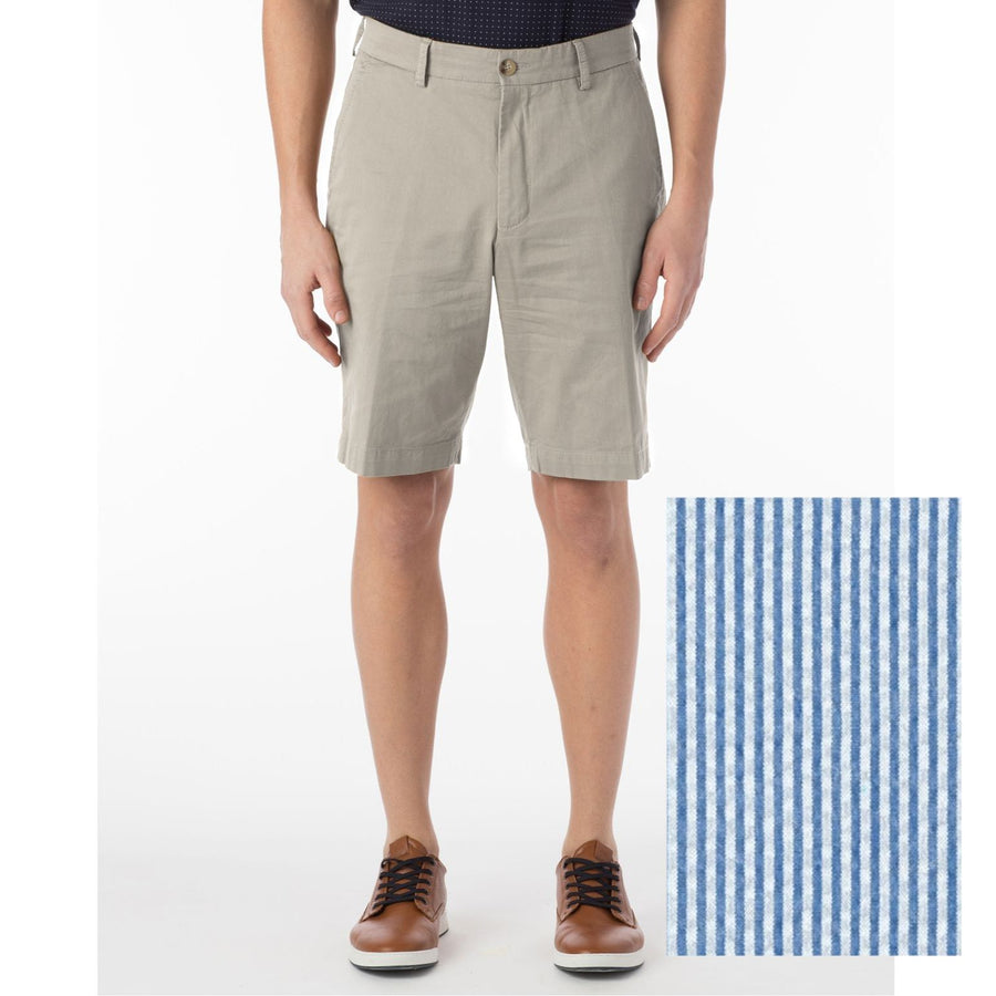 Stretch Seersucker Shorts in Blue by Ballin