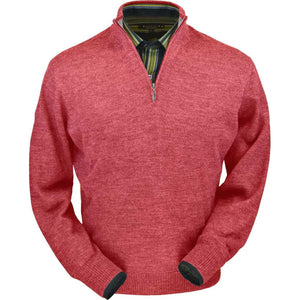 Royal Alpaca Half-Zip Mock Neck Sweater in Red Coral Heather by Peru Unlimited