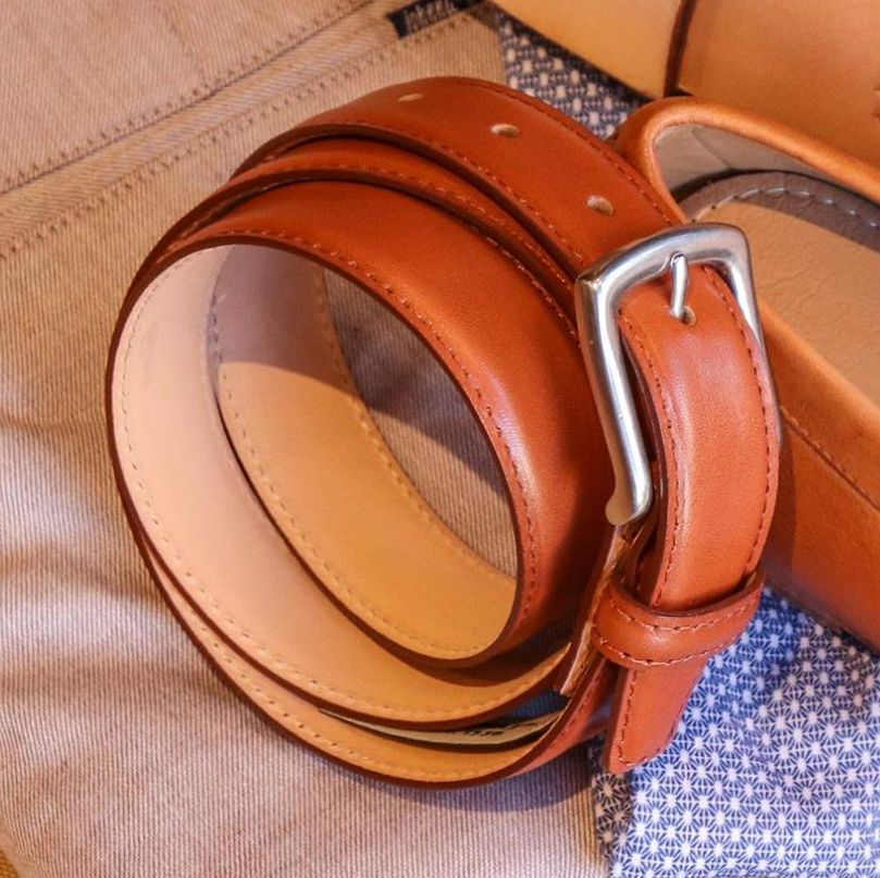 Torrence Calfskin Belt in Tan by T.B. Phelps
