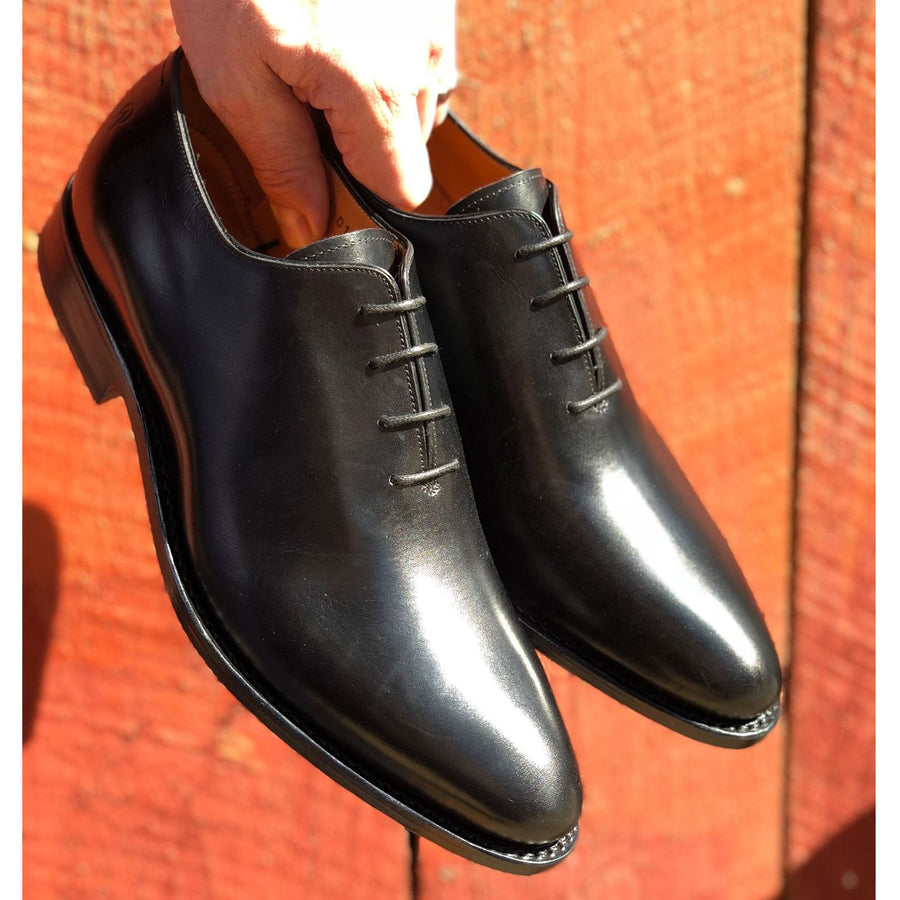 Hickory Wholecut Oxford Shoe in Charcoal Black by Armin Oehler
