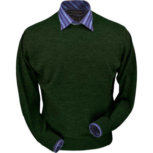 Royal Alpaca Crew Neck Sweater in Hunter Green Heather by Peru Unlimited
