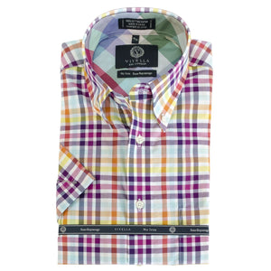 Purple and White Multi Check Short Sleeve Cotton Wrinkle-Free Sport Shirt by Viyella