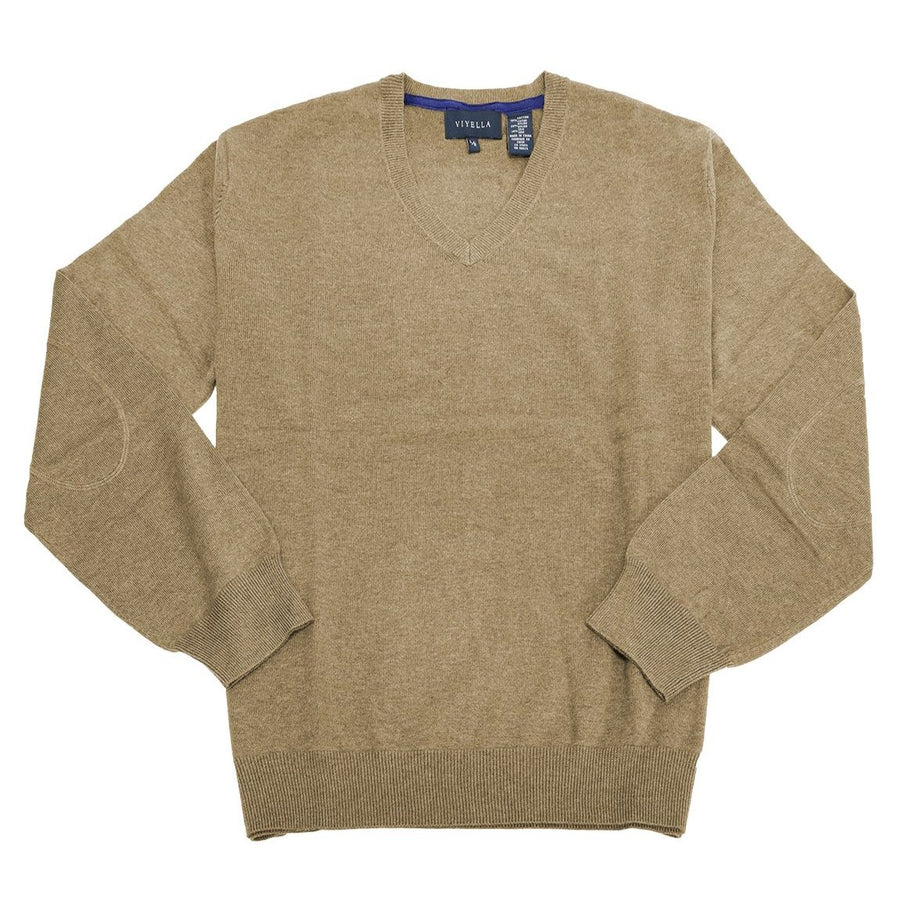 Cotton and Silk Blend Elbow Patch V-Neck Sweater in Camel by Viyella