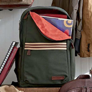 Teddy Zipper Backpack in Racing Green Canvas by Baekgaard